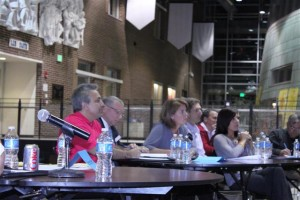 Community forum debates drug testing, meets strong opposition