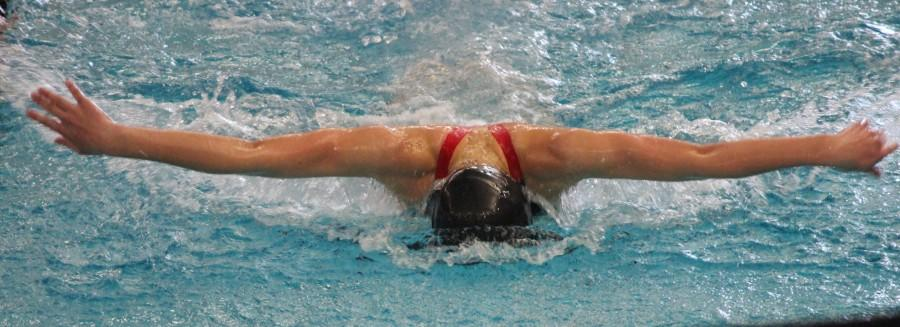 Freshman Hailey Pesch competes in a swim meet. She is passionate about the sport and hopes to keep with it in high school