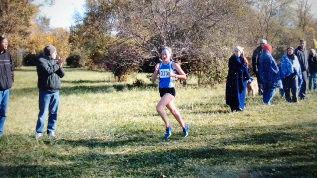 Caitlin Shepard running in the NSC conference meet on October 17. Shepard took first place with a time of 17:09.