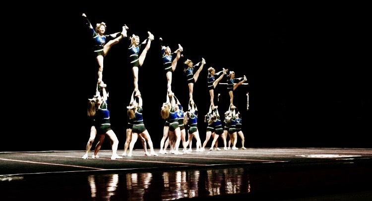 The varsity cheerleading team will compete at home on Saturday, January 30 in hopes of a State qualification. Photo credits to Kaiden Mortimer, sophomore.