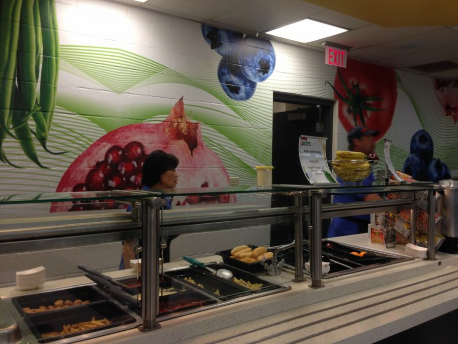 The cafeteria distributes food for students to eat during all lunch periods. Sodexo, the food service company for the high school, requires any leftover food that has been put out on the slides to be thrown away.