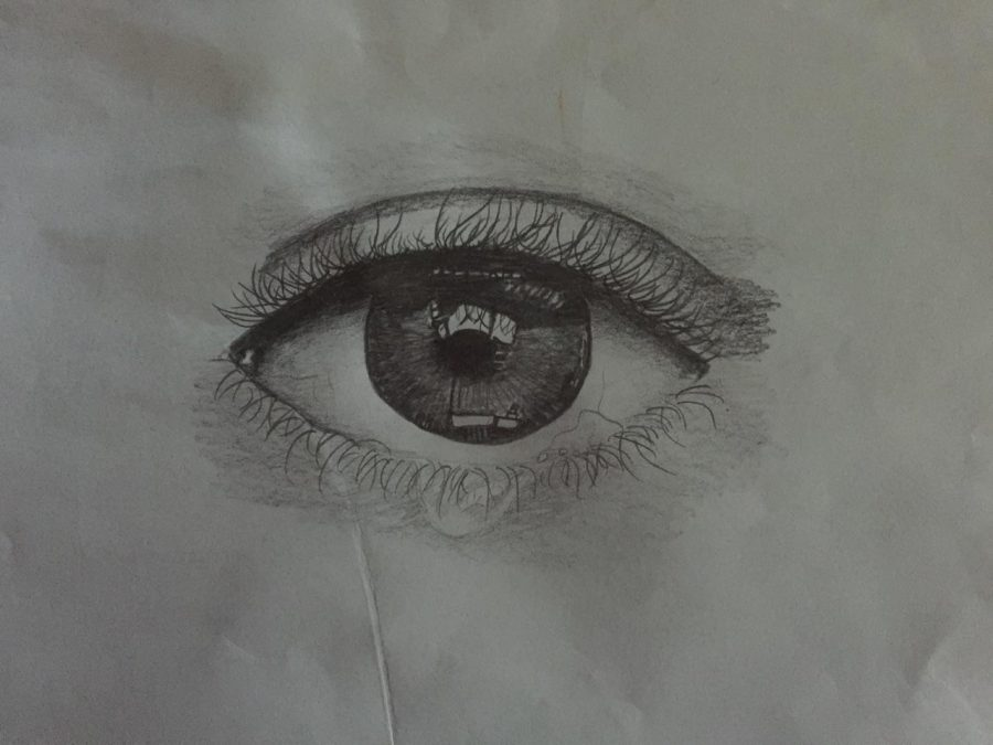 One of Lexi Selof, freshman's drawings of an eye. Selof is an incoming fresman and has had a huge passion for drawing and charcoal art since middle school.
