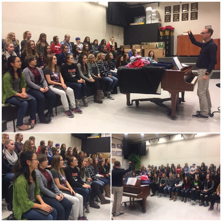 Students practice for the upcoming choir concert, rehearsing songs like Someday at Christmas as Mr. Juknelis, choir teacher, instructs them on how to improve. Although the purpose of the choir is spreading the holiday spirit, for senior choir members it will be their last holiday concert, making the event bittersweet.