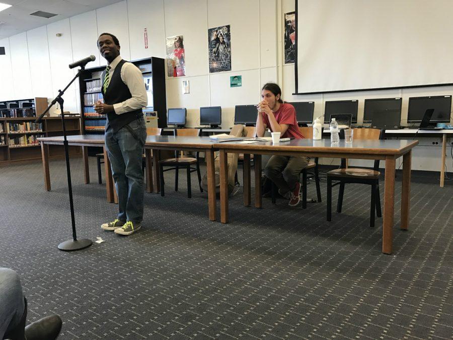 Corey Dillard, poet, performs at Writer's Day 2017.