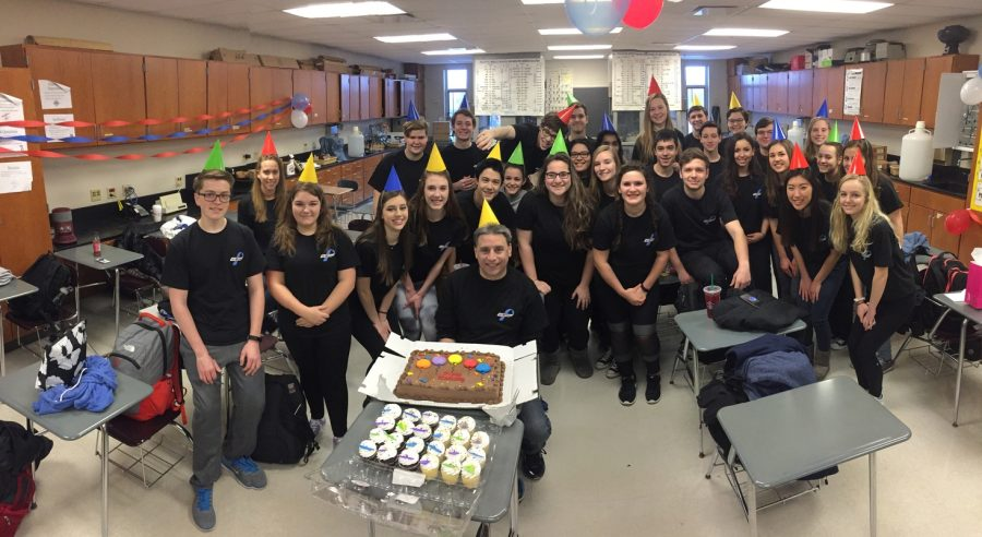 Students in AP Chemistry hosted a party on the birthday of Marcus Sipiera, chemistry teacher. All of the students wore the shirts they created in honor of his daughter's recent diagnosis of type 1 diabetes.