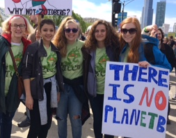 Students in REACT club participating in the March for Scientists on Earth Day. Photo used with permission of Julie Gyarmaty.