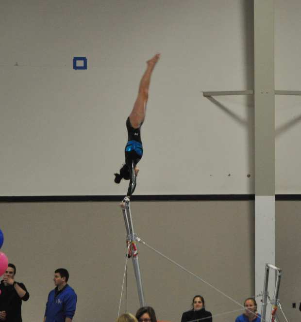 Julia McDevitt, who also competes with the USGTC team, helped campaign for the new gymnastics team at LZHS.