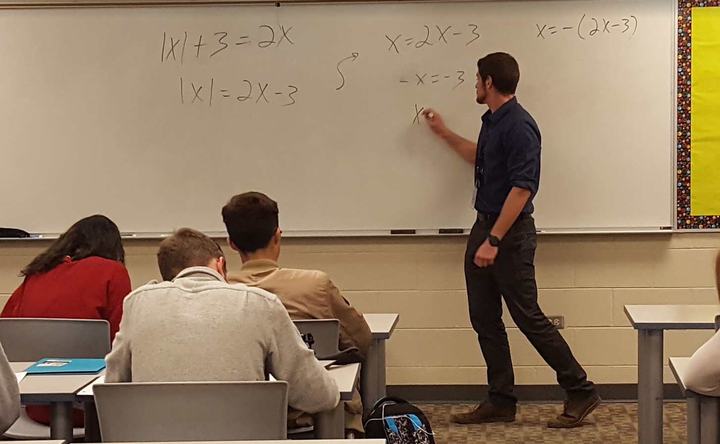 Perkins teaches his 8th period math class pre-calculus. Along with pre-calc, Perkins is a new teacher at LZHS who will also be tackling Algebra 1  and 2 for his course load.