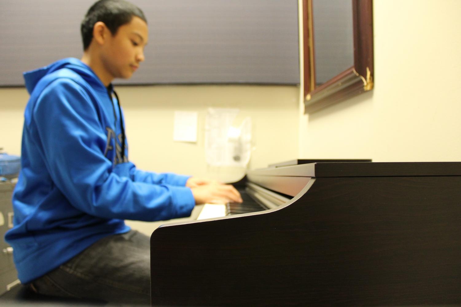 "Not only does Anton Escano, senior aspiring concert pianist, practice the piano before school from 6am to 7am, but he also rents out practice rooms in the Performing Arts wing to also practice on his opens. Within the past nine years since first learning to play the piano, Escano says he performed at the American Matthay Associate Piano Festival at Pennsylvania State University in front of the piano professors for 30 minutes when he was just 14 years old -- ""a pretty prestigious festival,"" Escano says."