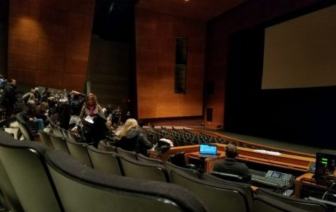 Audience members gather in the Performing Arts Center for the sixth annual District 95 Film Festival. The festival featured films from elementary, middle, and high school students.