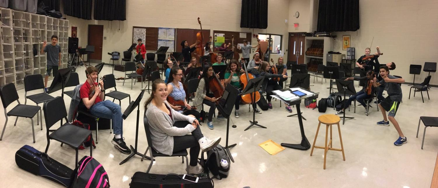 Members of Bear Strings pose for a photo.  Photo taken on the first rehearsal of the year. Used with permission of Nathan Sackschewsky.