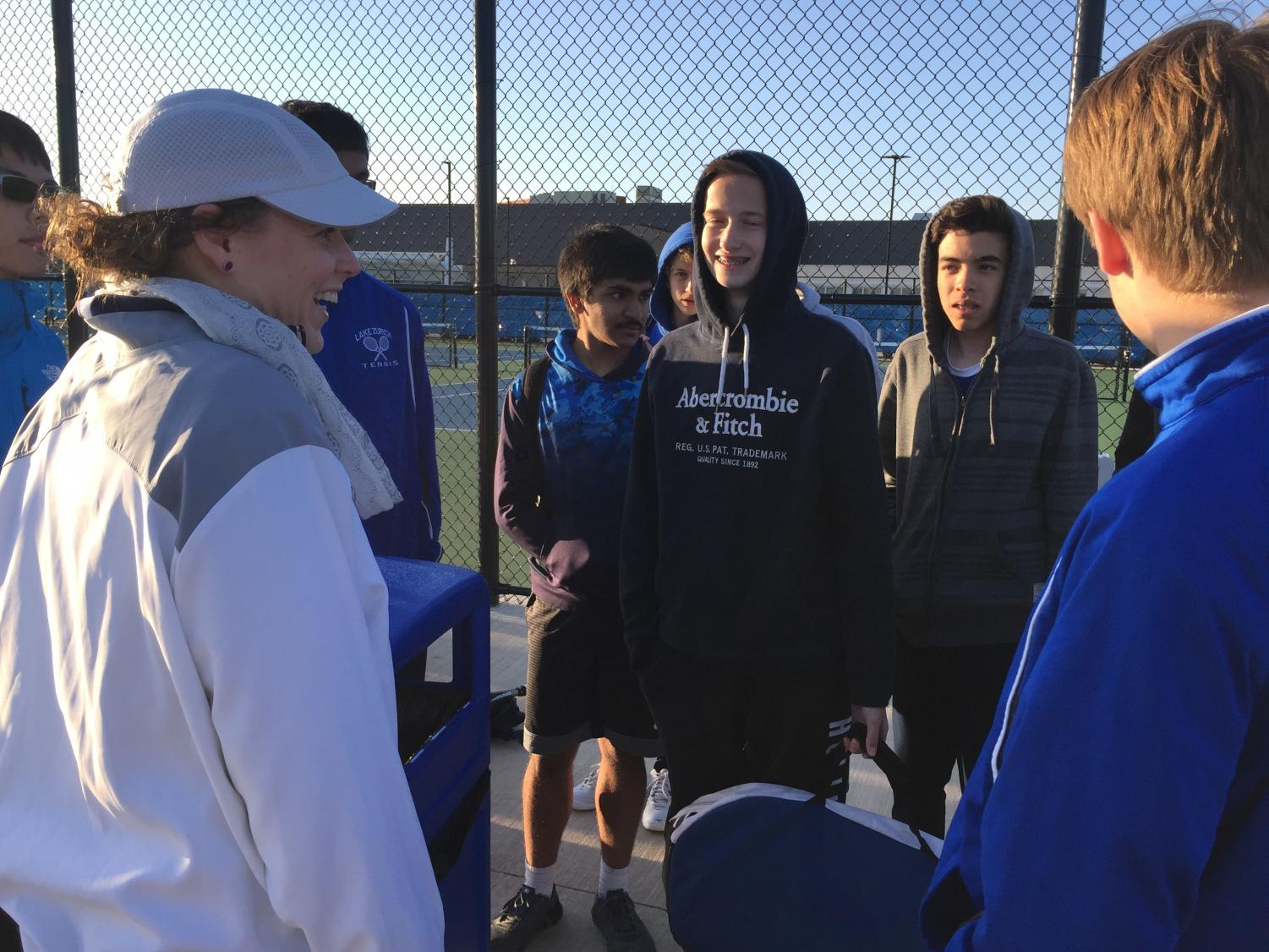 Coach Emily Chrisman gives advice and positive encouragement to her players. The positive coaching alliance has made an impact on how she interacts with her players.