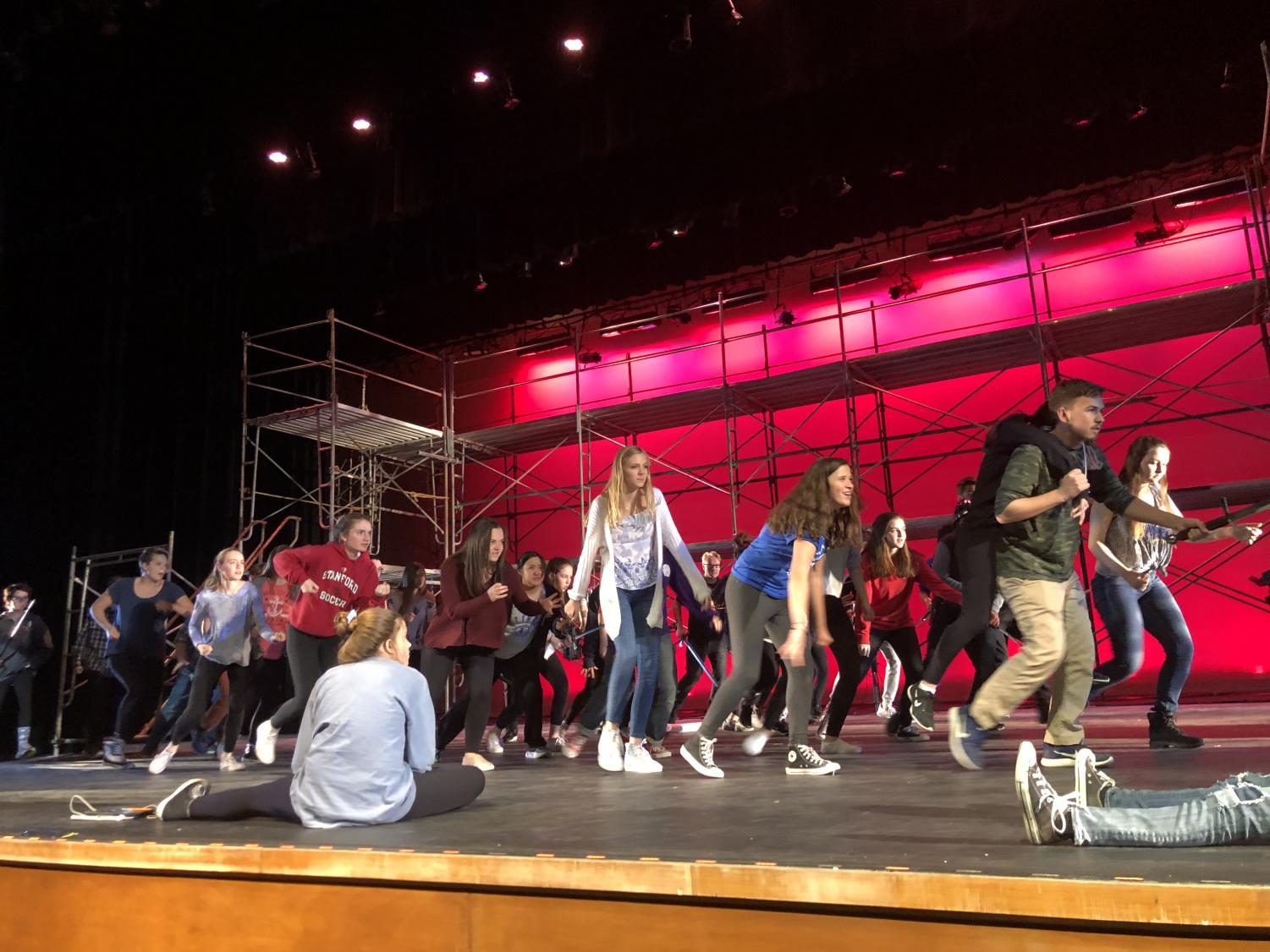 Pippin actors and ensemble members have worked hard to practice dancing and singing for the upcoming shows.