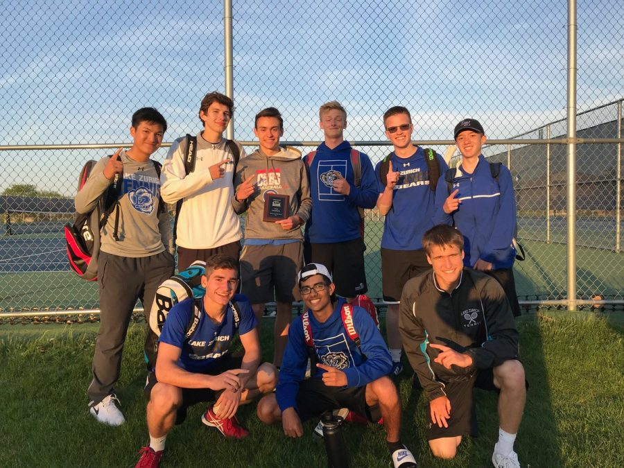 In one of their last tournaments of the season, the boys tennis team finished 1st in the Bison Quad. Jason Morrison, sophomore, contributed to the team's win by placing first.