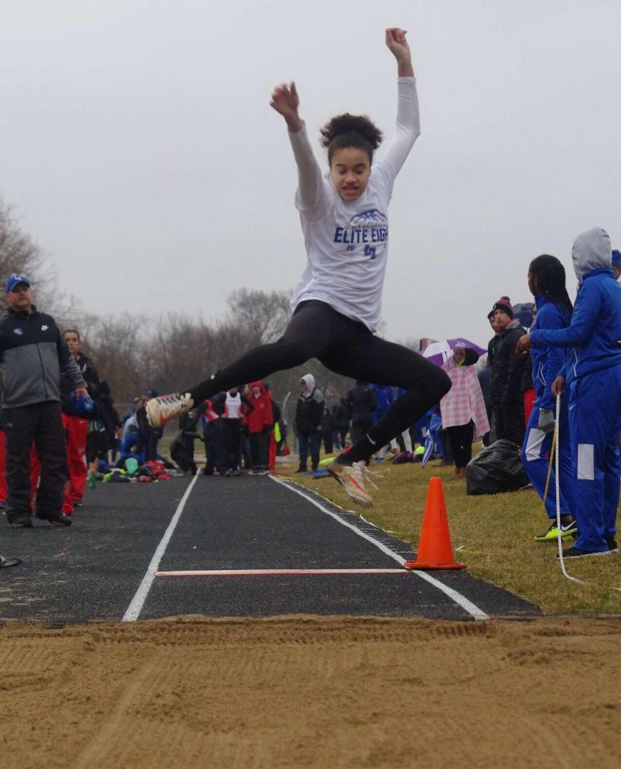Izzy Klett performing the long jump. Klett recently achieved a score of over seventeen feet. Photo used with permission from Klett.