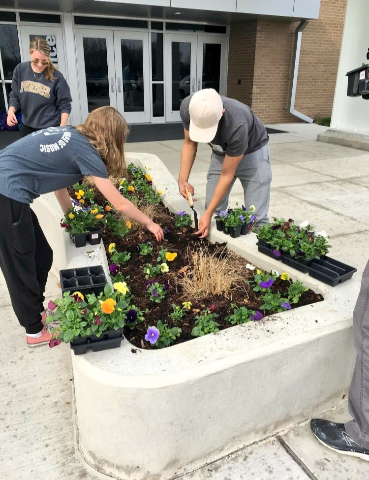 Interact members, working alongside Student council members, help with gardening projects for the school during the 'LZ Week of Service'. 'LZ Week of service' is just one of the many events that Interact sends volunteers to.