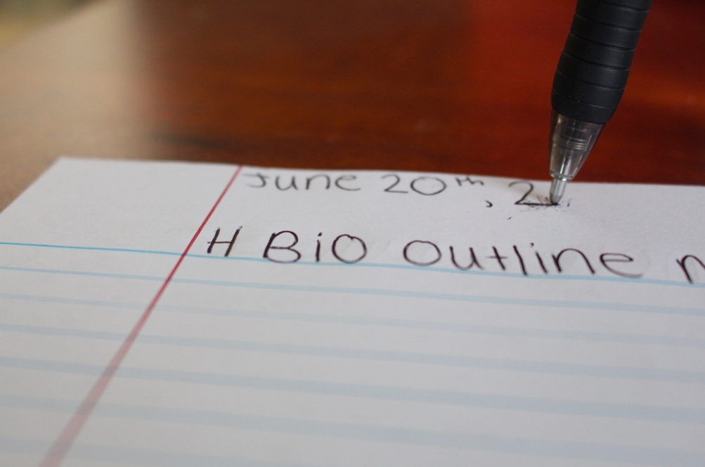 A student begins their outline notes for summer honors bio. Honors bio is just one of the many summer school classes offered at LZHS that students often recommend.