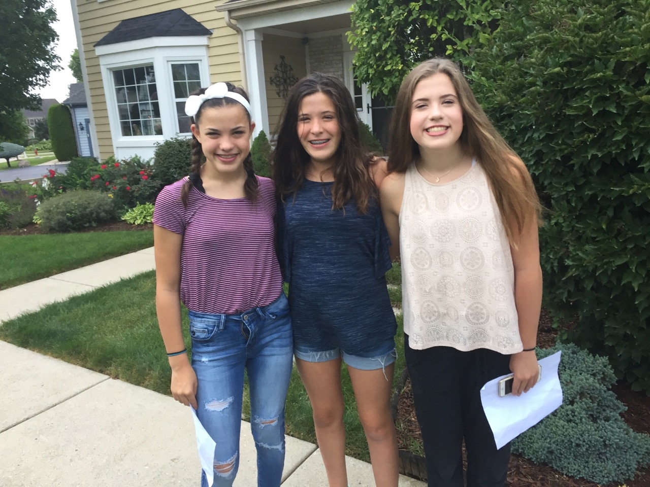 The three sisters on their first day of freshman year. Although they aren't as close as they used to be they still find an importance in mantaing a bond, says Julia Lane.