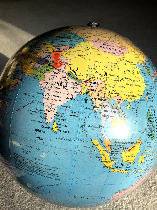 The pin on this globe indicates the location of Ambala, India. Harpreet Singh, junior and a new student at LZHS, moved to the United States on October 25th of last year from this city.