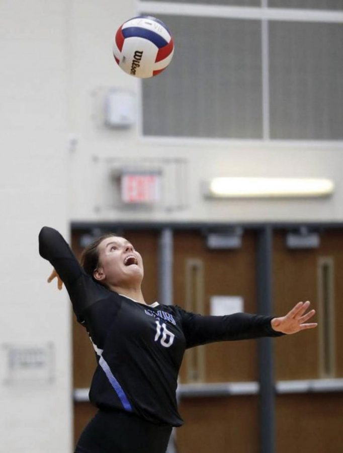 "Claudia Kieda, senior volleyball player and track runner, prepares to spike the ball during a volleyball match. Kieda says she enjoys being a multi-sport athlete because ""it's just fun to be involved in something constantly because each sport has a different season."""