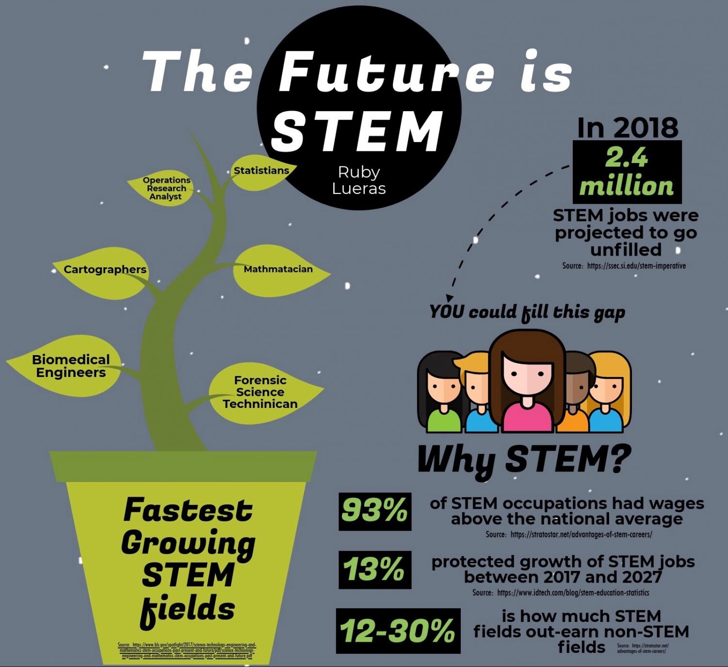 An overview on the growing field of STEM. Seniors, Lauren Babb, Elana Kraversky, and Tiffany Yen are all planning on contributing their time to the ever growing STEM field.