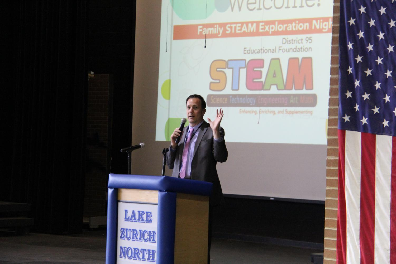 The+superintendent+educates+the+audience+about+the+STEAM+program.+Osburn+has+made+the+implementation+of+the+STEAM+program+a+district+wide+mission+in+the+time+he+has+been+in+Lake+Zurich.