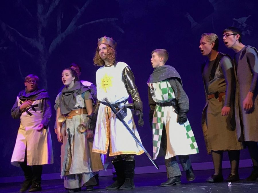 The+cast+of+Spamalot+during+rehearsal.+Countless+hours+have+been+put+into+the+musical+by+cast+and+crew.