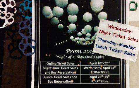 Night of a Thousand lights themed posters are hung around the school to give students information about ticket sales and the dance.