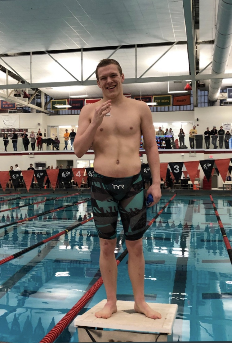 "Travis Hull, Junior, qualified for State in the 100m breaststroke. ""Swimming has really helped to put in determination and perseverance through [problems]. I know that there's a lot of stuff where if I wasn't focused on swimming, knowing that I have a very specific path set out for me,"" Hull said."