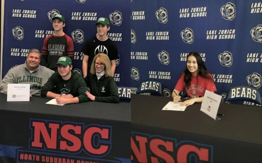 Andrew+Stange%2C+senior%2C+and+Sophia+de+los+Reyes%2C+senior%2C+sign+their+paperwork+on+signing+day+for+their+college+athletics.+Stange+will+be+playing+football+at+Illinois+Wesleyan+University%2C+and+de+los+Reyes+will+be+playing+tennis+at+Grinnell+College