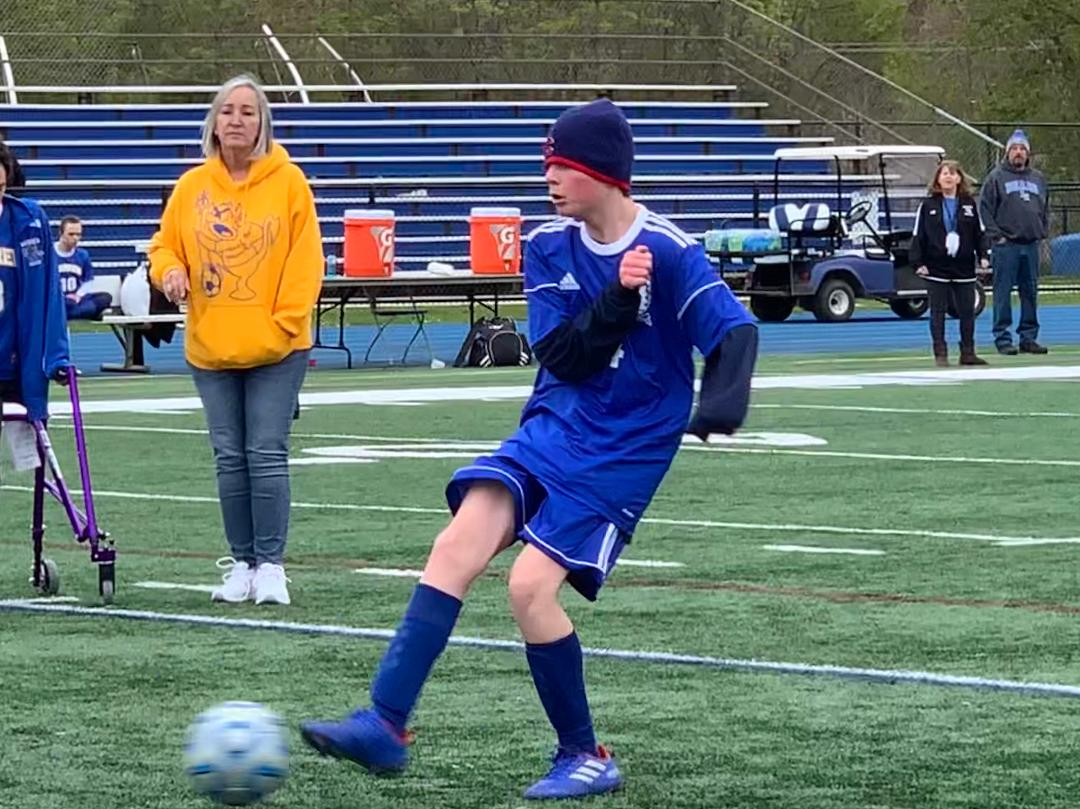 Griffin+Koppel%2C+sophomore%2C+shoots+the+ball+into+the+net+during+the+Allied+Soccer+team%27s+game+on+Saturday.+Koppel+ended+scoring+once+in+the+8-7+victory.