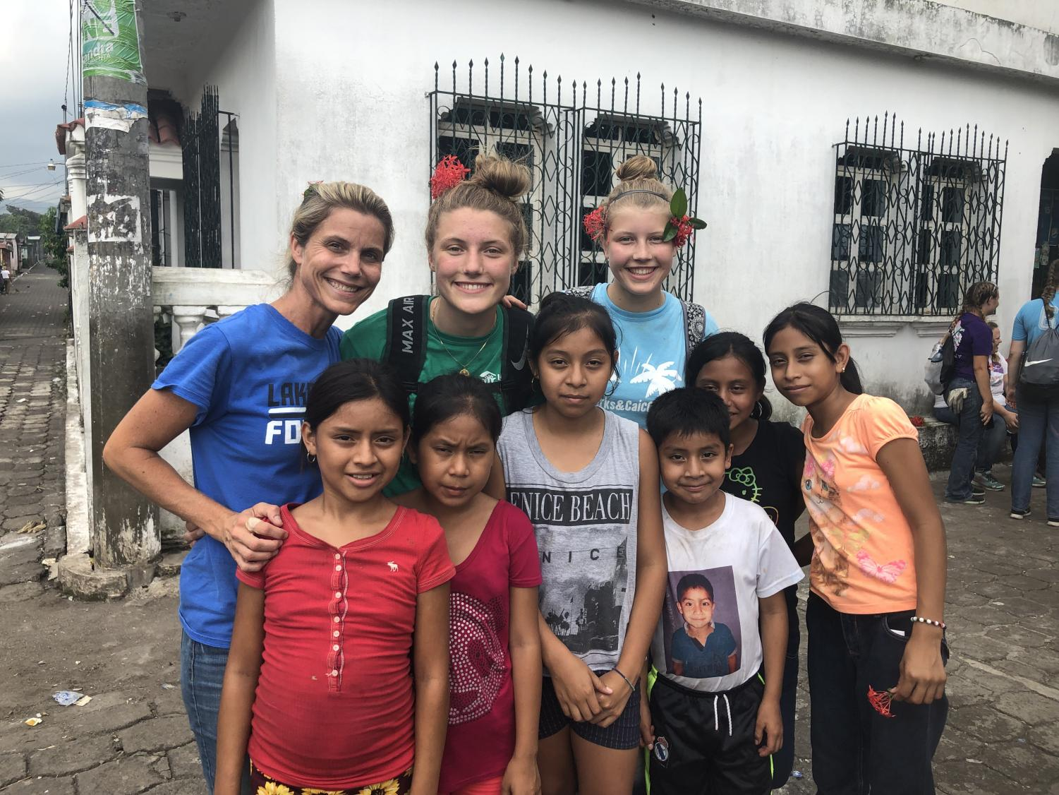 The Piggott family played with some of the children in the community that they visited in Guatemala