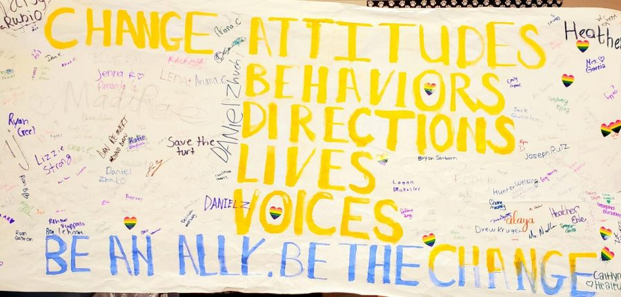 During Ally Week, students signed a banner and pledged their alliance with the LGBTQ+ community.