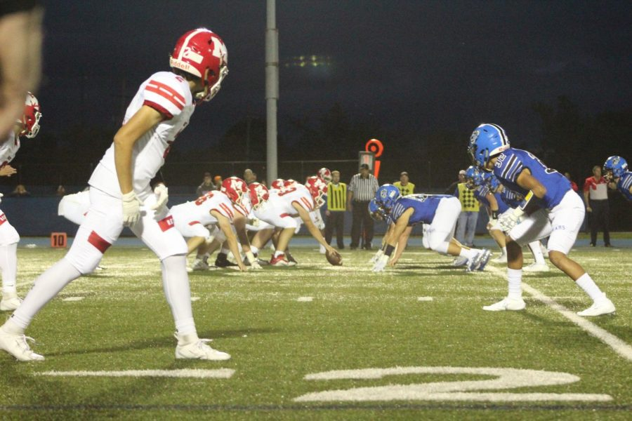 The football team lines up for a play against Marist on 9/6. The game ended in a 24-17 loss for the Bears