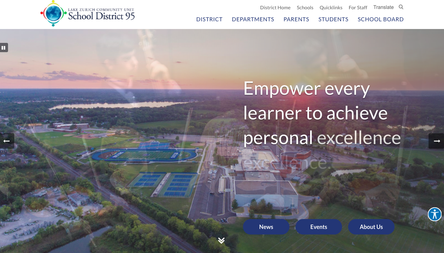 The new website is inclusive of more photos and showcases the district 95 students. The site is also more mobile friendly.