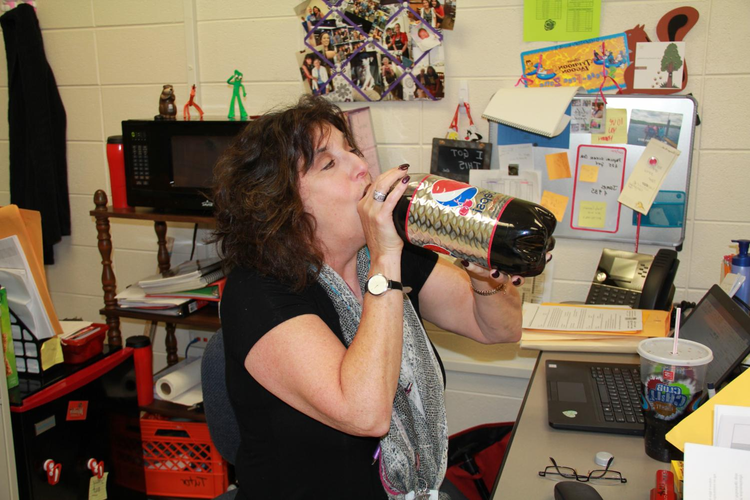 Elisabeth Siedentop-Wing, special education teacher, shows off her favorite Pepsi product: Diet Pepsi cherry. Siedentop_Wing says Pepsi breaks are her happy place during the sometimes stressful school days.