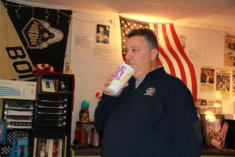 Chris Bennett, history teacher, gets a McDonald's Diet Coke every morning before school.