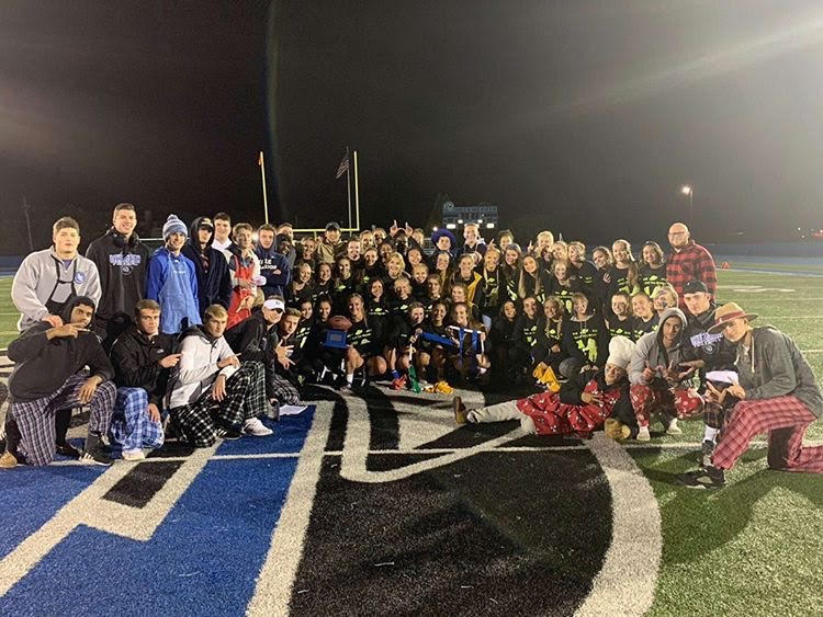 All girls and coaches who participated in the Powderpuff game. The game was a great way to have fun right before homecoming.
