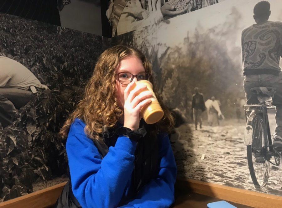 Emily Kaminsky, sophomore, sips her pumpkin cream cold brew.