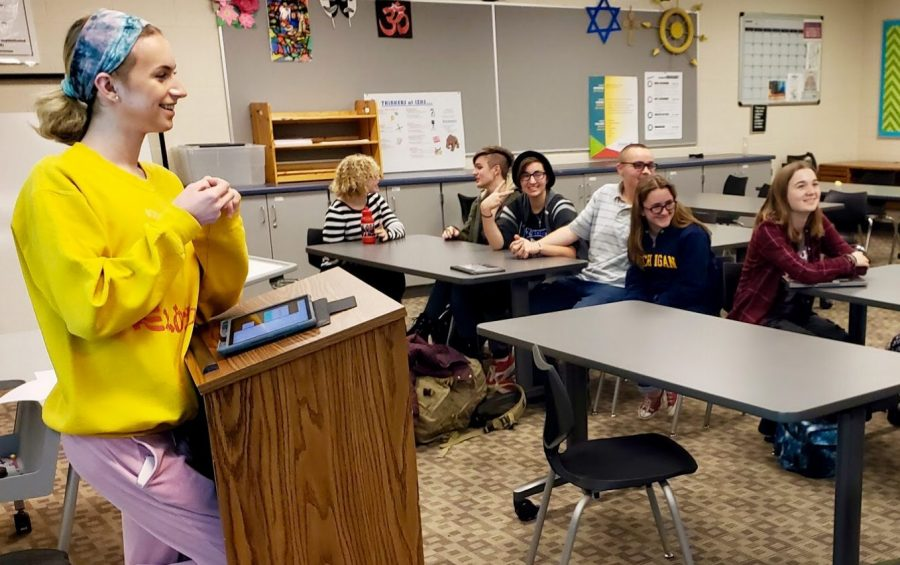 "Joey Nemec, junior Spectrum leader, talks to the Spectrum club during a weekly Tuesday meeting after school. ""I see the LGBT community that we're all people who are born this way and we can't change that,"" Nemec said. ""I just think we should all accept each other because [the LGBTQ+ community is]  not hurting anyone. Love is love."""