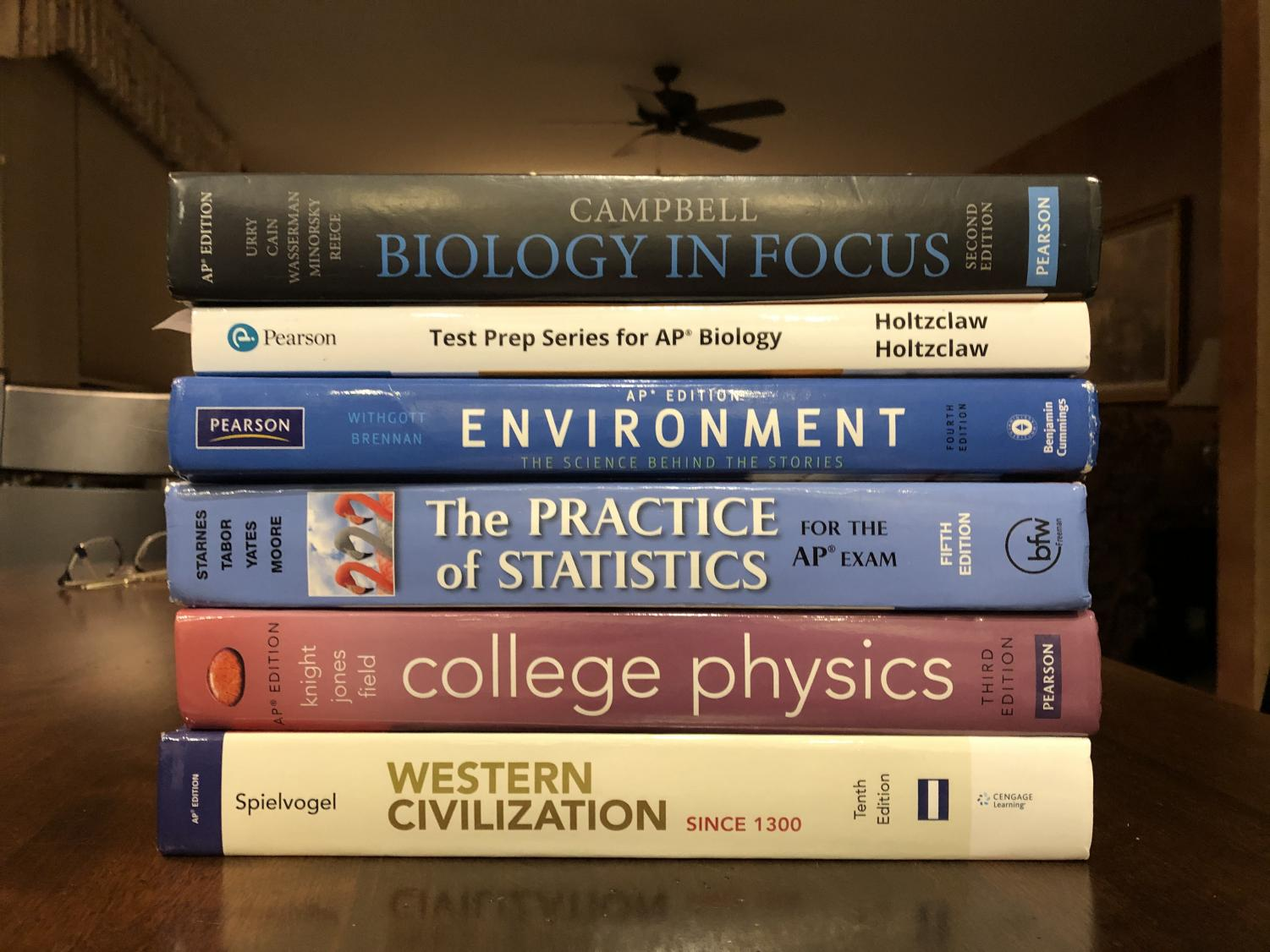 Students use textbooks and test prep books to prepare for the AP tests. Most colleges will only accept a 4 or a 5 on an AP test to give college credit.