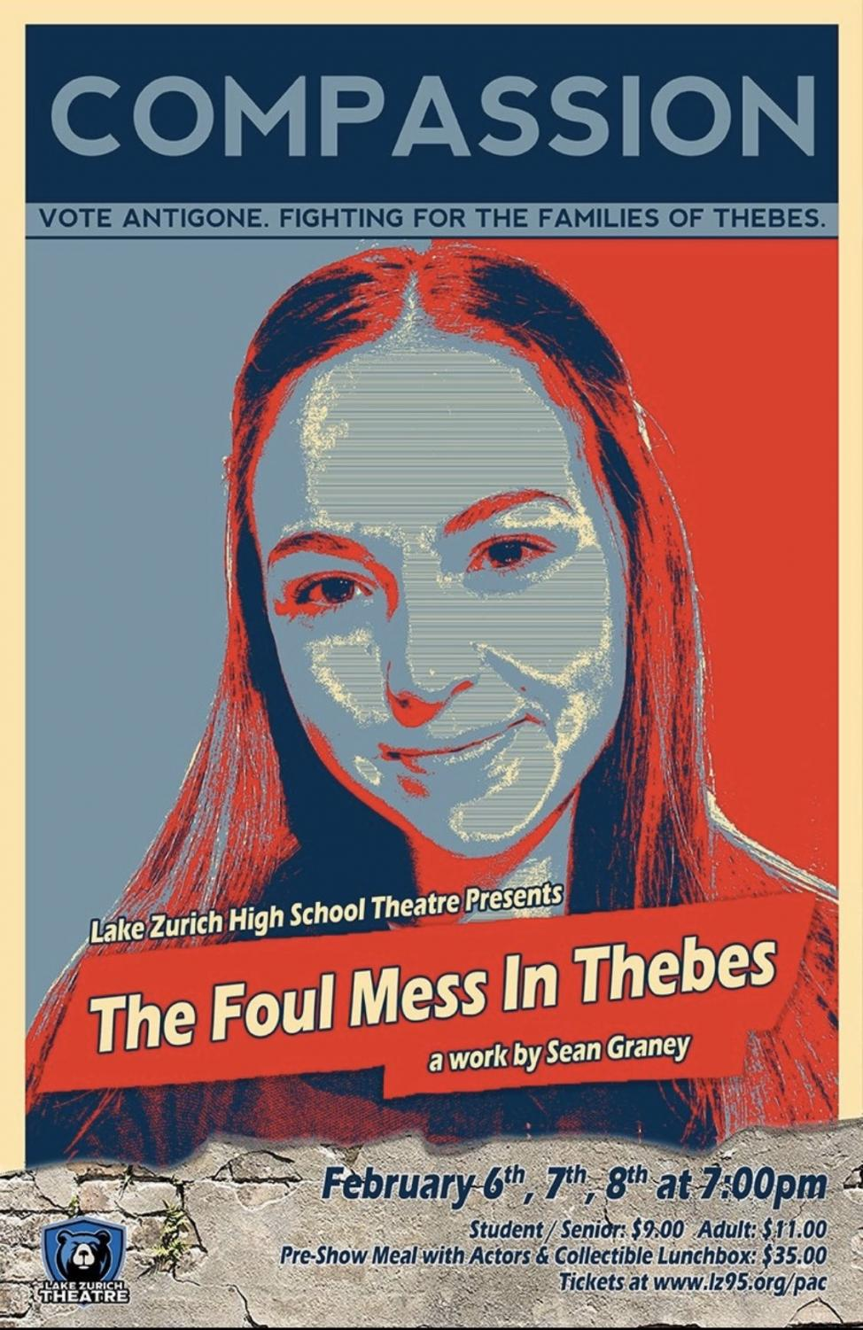 Play poster featuring Sammie Kopp, junior cast member. She and many other drama members will be participating in the play coming up at the end of this week.