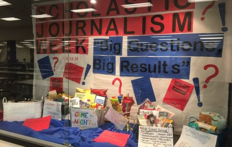 Bear Facts' display case in the cafeteria. On your way to class, take a look at our raffle prizes to see if you'd be interested in entering for a chance at one of these baskets.
