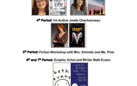 The final schedule for Writer's Day, showing all the different writers that will be presenting tomorrow. This event will feature both well-known authors and LZ students.