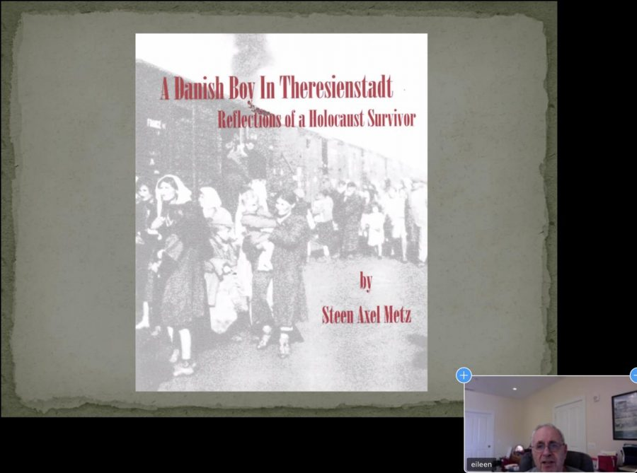 Steen Metz, Holocaust survivor, presents his autobiography to the English I students about his experience in the Theresienstadt Concentration Camp.