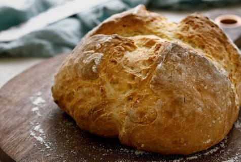 "A loaf of Irish soda bread. ""It takes about an hour to make, but the main ingredients are: flour, sugar, baking soda, salt, currants or raisins (optional, we don't really use them ourselves), an egg, and a bit of buttermilk."" Dalton Leitz, freshman, said."