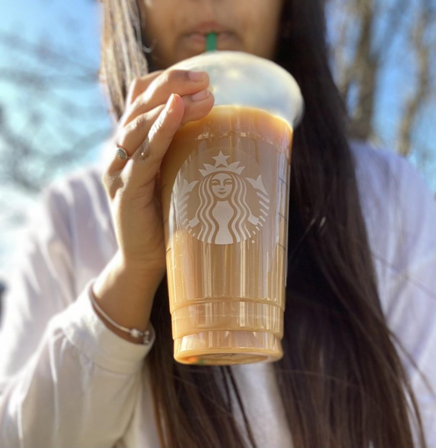 A cup of coffee from Starbucks. Students have been drinking a lot more coffee during the pandemic, due  to popular coffee shops being closed.