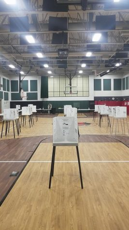 An election polling site set up with dividers to ensure no one can watch ballots being filled in.