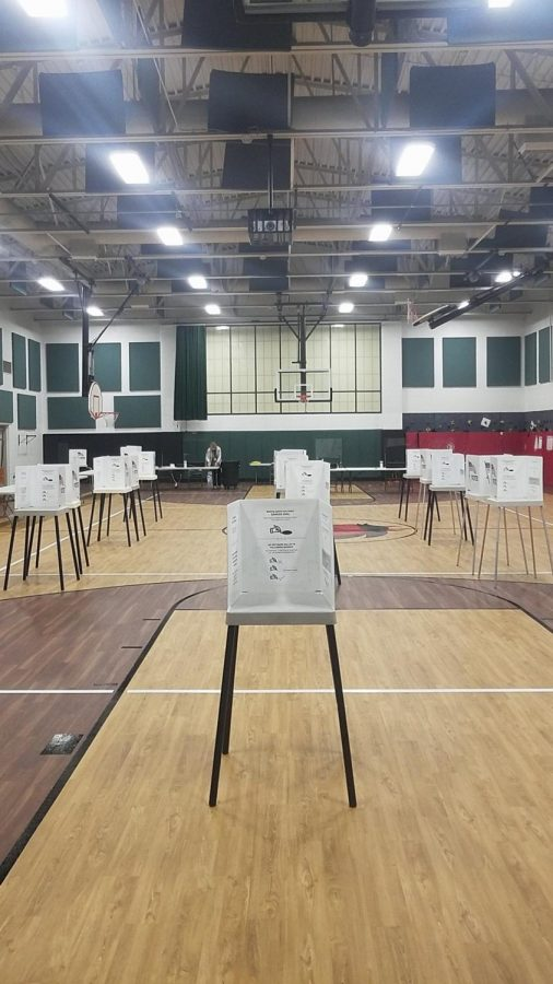An+election+polling+site+set+up+with+dividers+to+ensure+no+one+can+watch+ballots+being+filled+in.