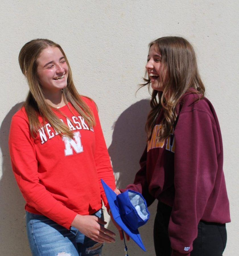 """Katie and Madelyn Zolneirek, seniors, prepare for the next year apart. """"When I was younger, part of me was like, shaping my personality off of being different from [Katie] so we could be different,"""" Madelyn said. """"But now looking back, not seeing Katie everyday is going to be the hardest part about leaving."""""""